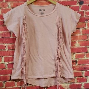 On Fire pink hi-low top size S. NWOT